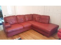 Beautiful large red leather sofa suit