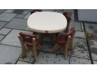 Step 2 kids table and 4 chairs