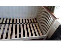 White and oak wooden double bed frame, Excellent condition