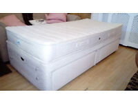 Divan bed with two drawers, mattress included.