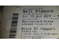 Neil Diamond Concert Tickets x 2, Barclaycard Arena, 13 October 2017