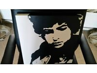 BLACK & WHITE B&W CANVAS PICTURE POP ART PAINTING BOB DYLAN