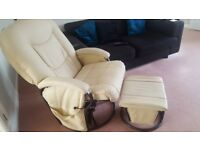 Very comfortable rocking chair and gliding footstool in good condition.