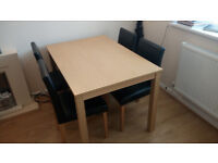 Elmdon Oak Effect 120cm Dining Table and 4 Black Chairs