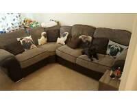 Brown and grey corner sofa