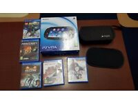 Sony PlayStation Vita Crystal Black Handheld WIFI + 3G & 5 x Genuine Games LOOK!