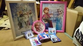 Frozen bundle: 2 big framed pictures, wall clock, 2 cds, dvd, book, bag. Excellent condition