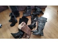 joblot of size 3 boots, 8 pairs