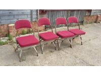 Set of 4 Vintage Retro Industrial Fold Up Chairs