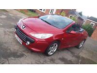 Peugeot 307cc, 2.0 petrol 140hp, red, convertible SPARES or REPAIRS