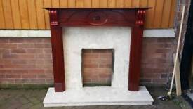Fire surround, marble back and hearth