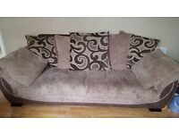 3 and 2 seater fabric sofa with scatter cushions