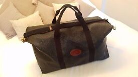 Large Mulberry Scotchgrain black and cognac travel bag