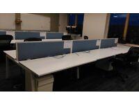 White 6 person bench desk workstation