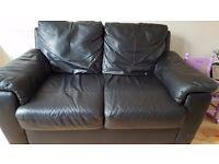 2 x 2 black leather sofas