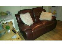 Leather sofa 2 seater recliner