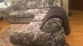Velvet crushed corner sofa