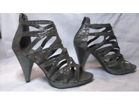 Ladies strappy silver/grey shoes size 8 with 4 & 1/2 inch heels Grazia label.