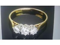 18k Gold Trilogy Ring 0.35Ct Natural Diamond Ring RRP £1150 Hallmarked