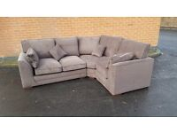 Lovely Brand New brown fabric corner sofa, still in the box, can deliver