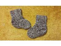 Home hand made sole 10-11 cm baby girl brown wool blend winter socks 3-6-9-12 mths warm
