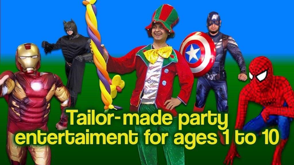 childrens birthday clown mascot spiderman entertainer face painter