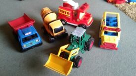 5 Childs Toy Road Vehicles With Moving Parts,Tipper Truck,Tractor,Cement Mixer,Bus & Fire Engine