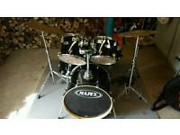 Mapex V Series black 5 piece drum kit with Sabian Solar cymbals