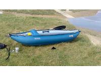 Gumotex inflatable kayak: light, tough, one person kayak with skeg.