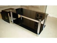 Crystal Black Glass and Chrome Coffee Table & TV Stand