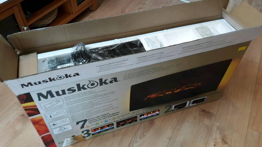 "BRAND NEW MUSKOKA 42"" curved FIREPLACE BOXED"