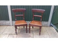 Pair of Heavy Hardwood Victorian Chairs