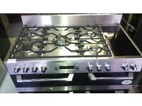 LEISURE stainless steel dual fuel gas cooker 110cm new ex display