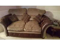 Large 2 seater sofa & 2 armchairs with storage stolls