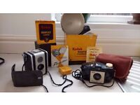Vintage Kodak Duaflex camera and Brownie Camera and Flasholder