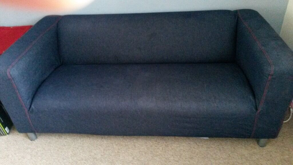 3 Seater Ikea Sofa And Matching Pouffe In Denim In Dunmurry Belfast Gumtree