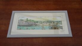 Original Beth Altabas Watercolour of St Mawes, Cornwall, signed, glazed and framed
