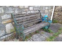 Garden Bench with Iron Lion faced Arms