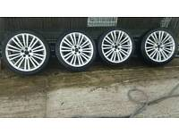 R32 style 18 inch alloy wheels and tyres 5x100 vw audi seat