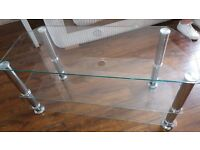 CLEAR GLASS, 3 TIER TV STAND.