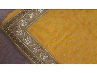 Mustard bronze saree