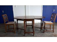 ANTIQUE SOLID OAK BARLEY TWIST OVAL GATE LEG DROP LEAF DINING TABLE & 2 CHAIRS VINTAGE CAN DELIVER