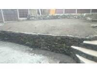 Stone wall in ur garden fancy steps ponds ect