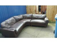 2 Brown Leather Corner Sofas