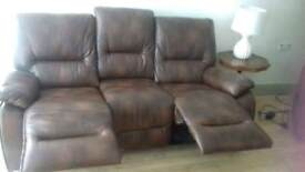 Faux leather recliner sofa & chair