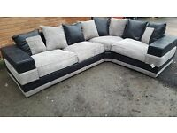 Fabulous Brand New large black and grey cord corner sofa. wide arms.good quality.can deliver
