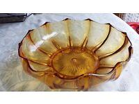 Amber fruit bowl and art deco vase