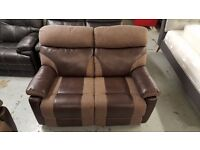 NEW ScS RALPH BROWN 2 SEATER MANUAL RECLINER SOFA Can Deliver Viewing Collection NG177