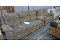 PRE OWNED Brown Patterned Fabric 3 (recliner) + 2 Seater Sofas