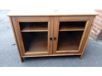 Lovely pine glass doors TV cabinet in good condition